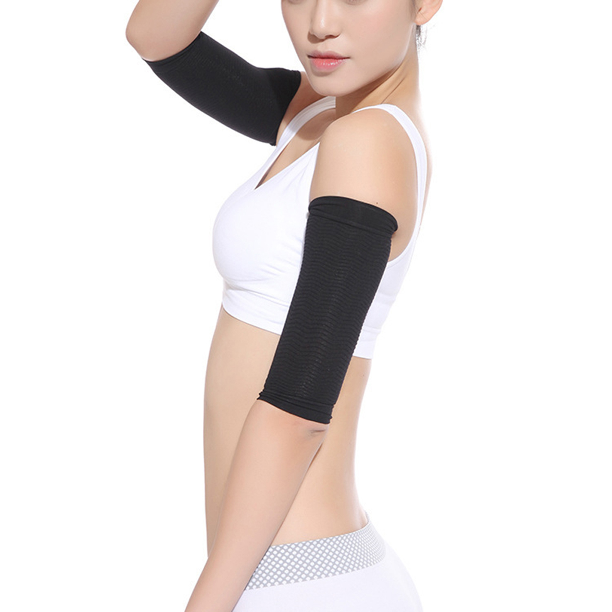 1Pair Women Elastic Compression Arm Warmers Female Slimming Calories Arm Sleeves Support Elbow Sock Massager Arm Wraps