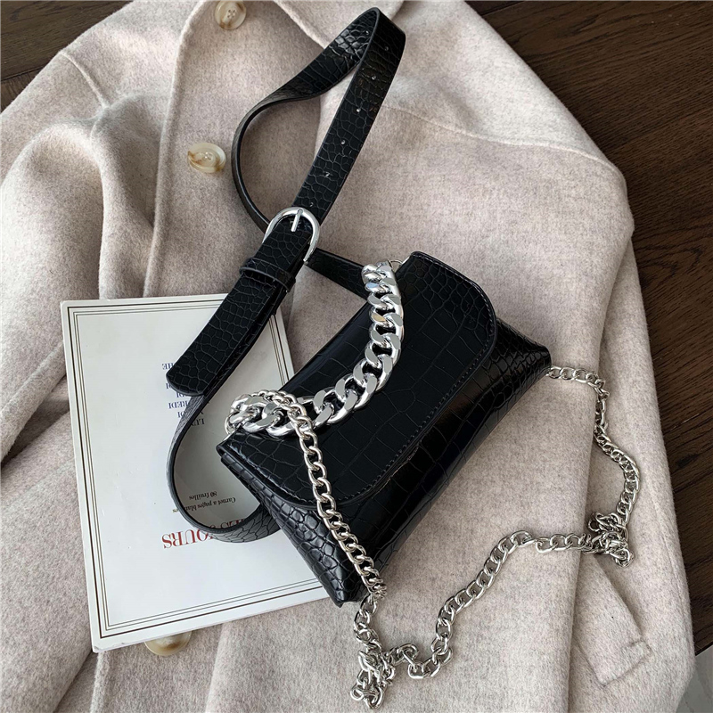 Stone Pattern Square Crossbody Bag 2020 Fashion New High Quality Leather Women's Designer Handbag Chain Shoulder Messenger Bag
