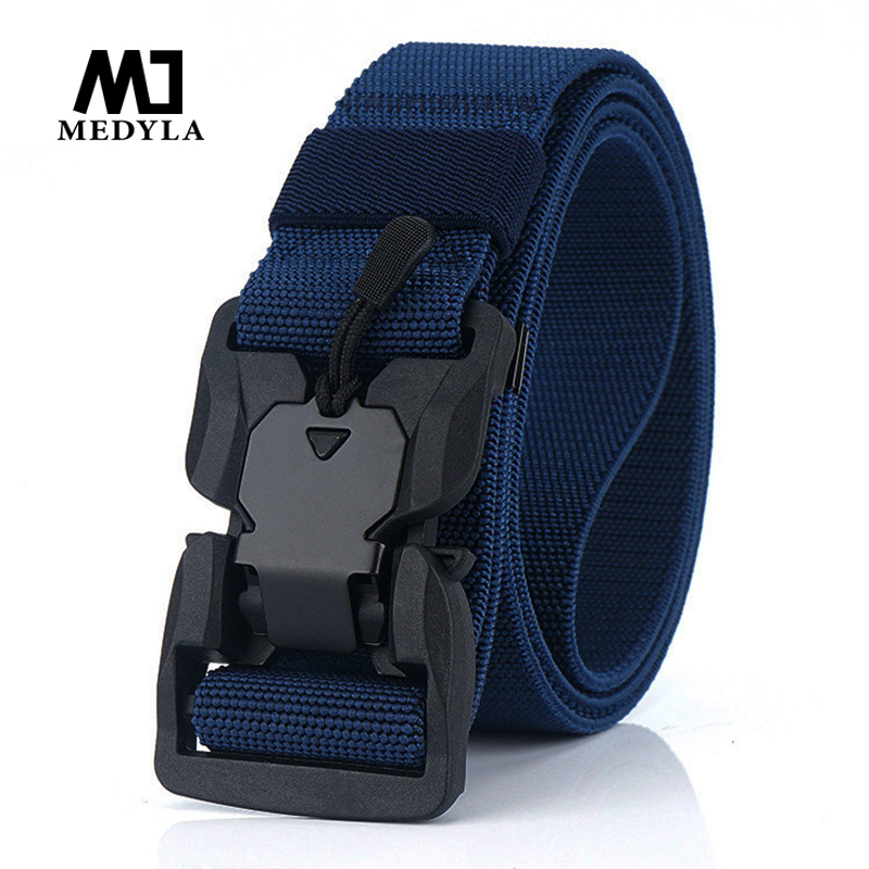 MEDYLA elastic tactical   belt   unique magnetic buckle quick release buckle sports   belt   non-porous military   belt   sports accessories