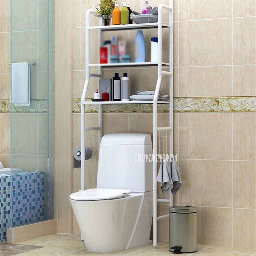 No Punching Metal Toilet Shelf Floor Type StorageShampoo Towel Etc Accessory Rack Bathroom Washing Machine Shelf Organizer