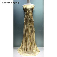 5 Yards Bling Gold Sequins Fabric for Evening Dress 2019 Embroidered Mesh Cloth DIY Wedding Party Prom Gowns Net Lace Material