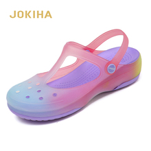 Summer Women Mules Clogs Beach Breathable Mary Janes Gradient Color Slippers Womans Sandals Jelly Shoes Cute Garden Shoes
