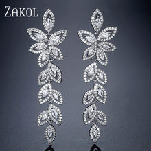 ZAKOL Mode Zirkonia Kristall Braut Lange Tropfen Ohrringe für Frauen Blätter Hochzeit Ohrringe Engagement Party Schmuck FSEP2348