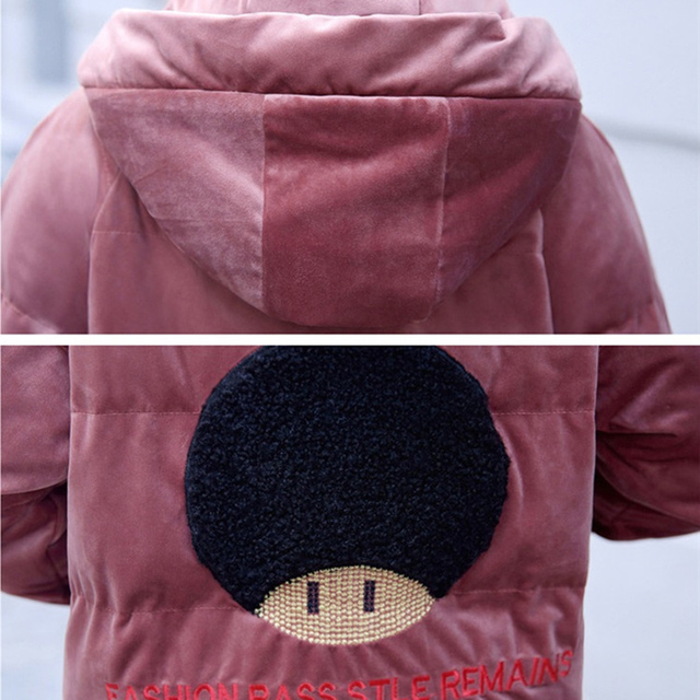 2019 Gold velvet winter parka women thicken warm cotton jacket hooded coat plus size female embroidery Cotton-padded jacket 5