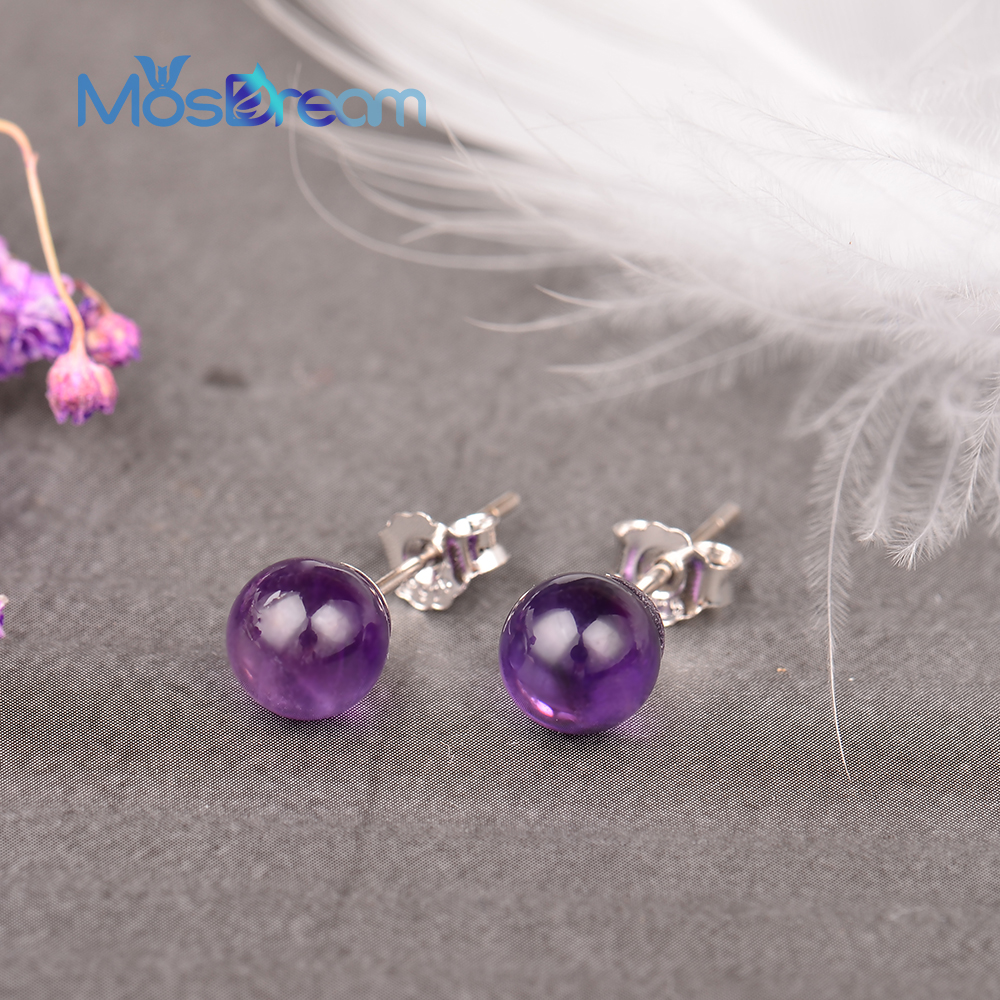 MosDream Amethyst Earrings S925 Silver Lovely Elegant Stud Earring for Women Natural Gemstone Magical Lucky Jewelry Gift(China)