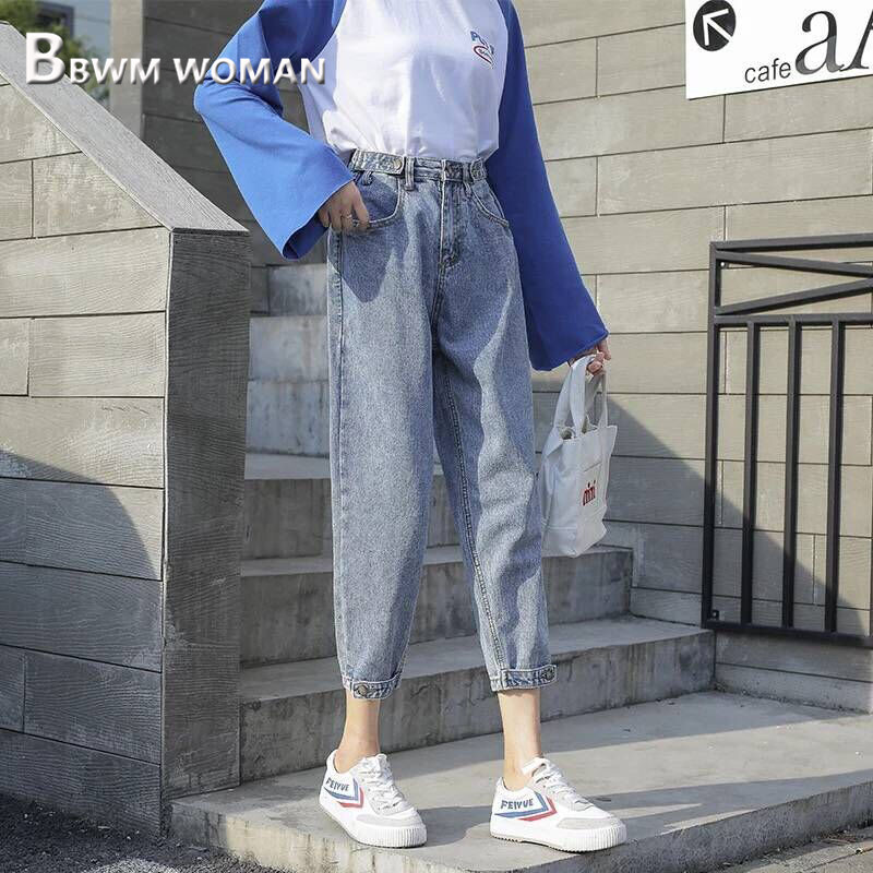 2019 Ins Popular Daddy Style Women Jeans 2 Colors Can Choose Female Denim Pants
