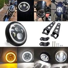 """7,5 zoll LED Scheinwerfer mit Halo Ring Bernstein Blinker Für Harley Honda Cafe Racer Bobber 7.5 """"LED Motorräder scheinwerfer"""