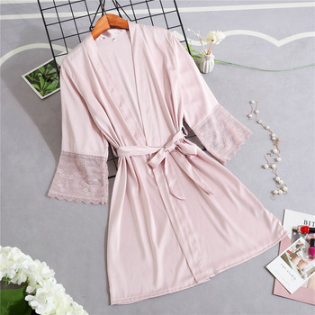 Lace Kimono Gown Mini Half Sleeve Novelty Bride Bridesmaid Wedding Robe Casual V-Neck Home Clothing Soft Sleepwear Negligee lace panel kimono sleeve tee