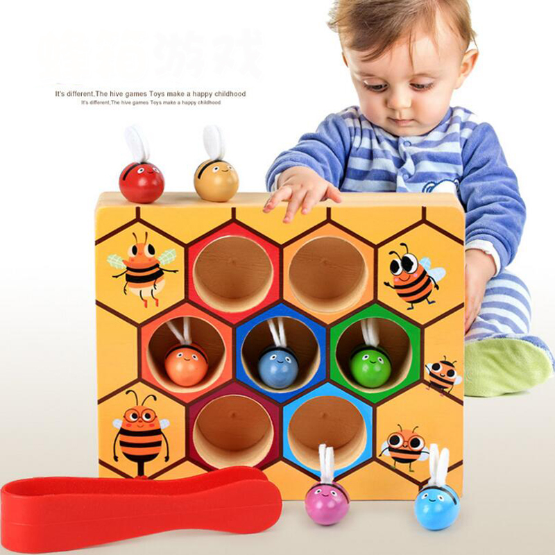 Wooden Learning Educational Toys Montessori Hardworking Bee Hive Game Children's Clip Toy