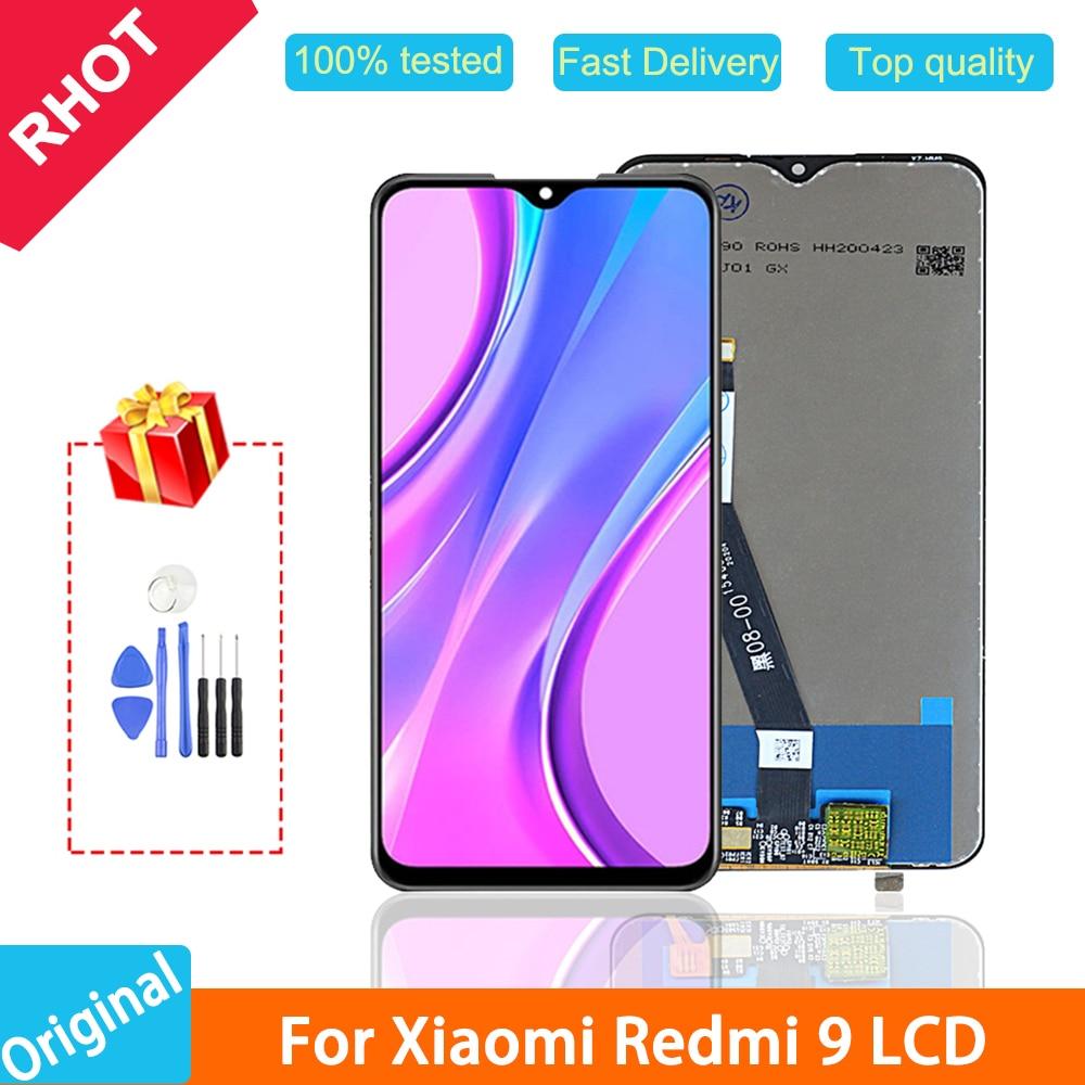 "100% test orijinal 6,53 ""Redmi 9 LCD ekran Xiaomi Redmi için 9 LCD dokunmatik ekran digitizer meclisi, çerçeve ile"
