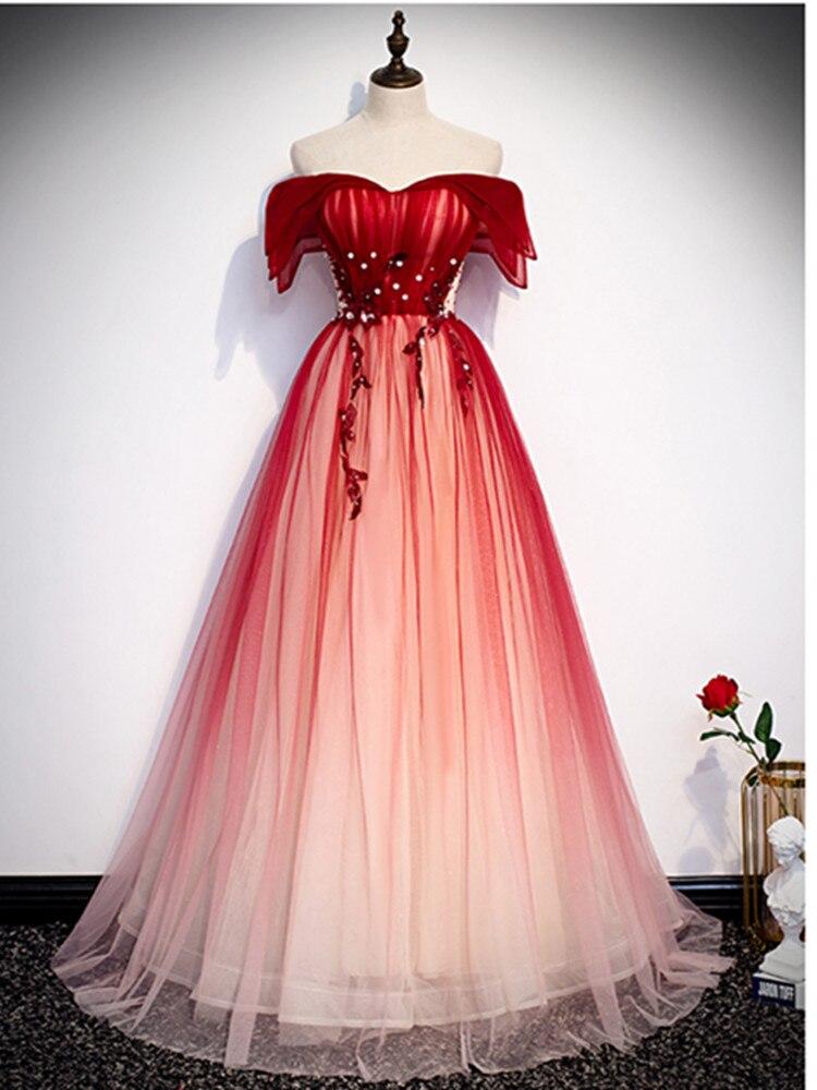 Evening Dress Vestidos De Festa Vestido Longo Para Casamento Evening Dresses Long Dress A-line Red Evening Gowns 2020