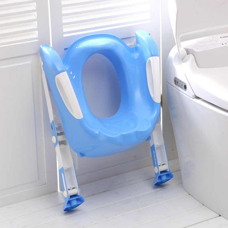 Suporte infantil dobrável para vaso sanitário, assento portátil para treino de bebês e crianças com escada ajustável