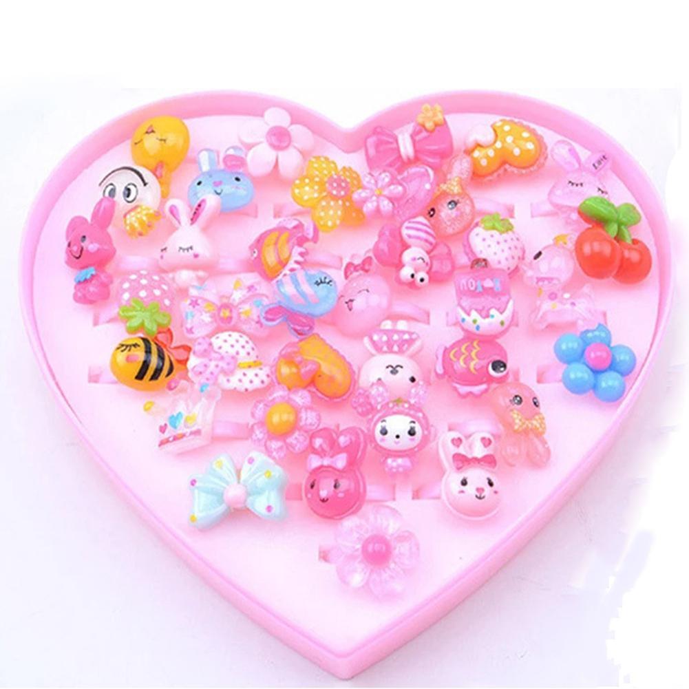 Kuulee 36pcs/set Kids Little Girl Cute Lovely Cartoon Jewel Rings Set Home Play Toy