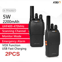 Transceptor portátil da frequência ultraelevada 400-470mhz 16 do varredor do transmissor do canal 1 ou 2 pces ksun woki toki rádio bidirecional walkie-talkie