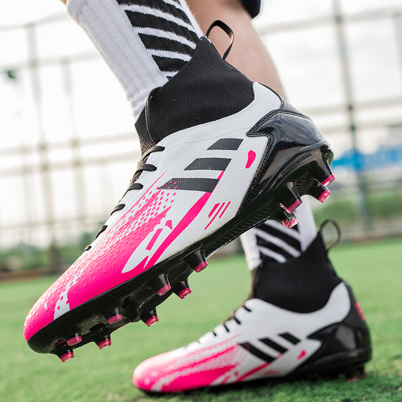 Hot Sale Unisex Soccer Shoes Long Spikes Ankle Football Boots Outdoor Non-Slip Wear Lace-Up Training Sport Sneakers Size 35-45