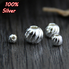 10pcs 925 Sterling Silver Color 3 4 5 6MM Fashion Charm Beads Perforation Loose Beads DIY J