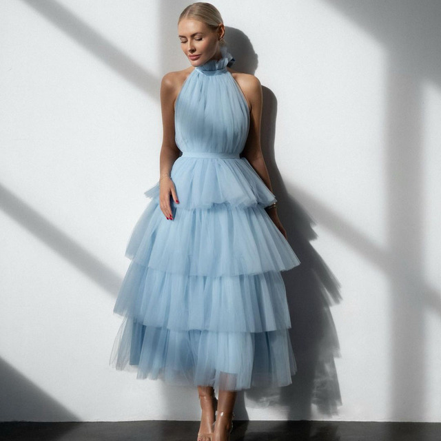 Fashion Demure Elegant Sky Blue A-line Women Dress Ruffles Tulle Layered Halter Backless Ball Gown Colors Custom Made