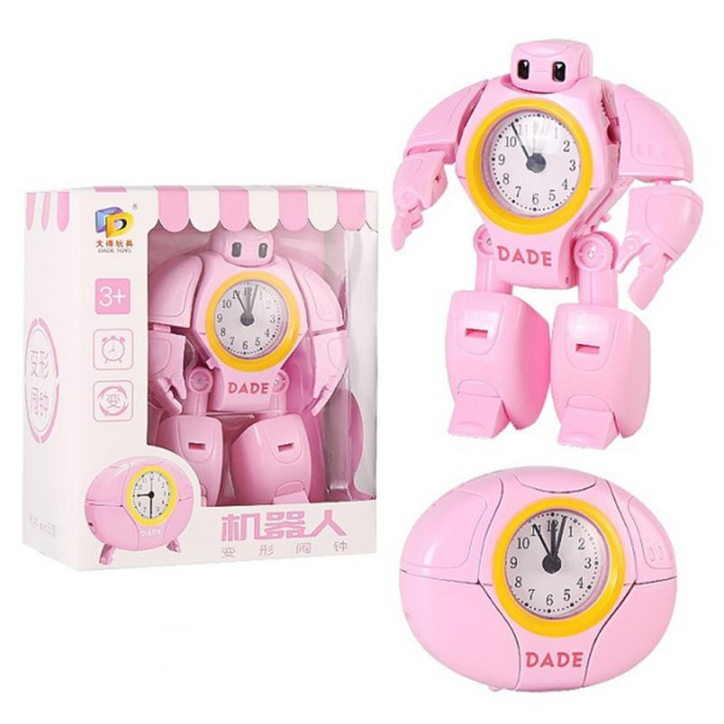 New Cartoon Alarm Clock Transform Robot Time Clock Creative Students Alarm Clock Cute Children Kids Gifts Electronic Gadgets
