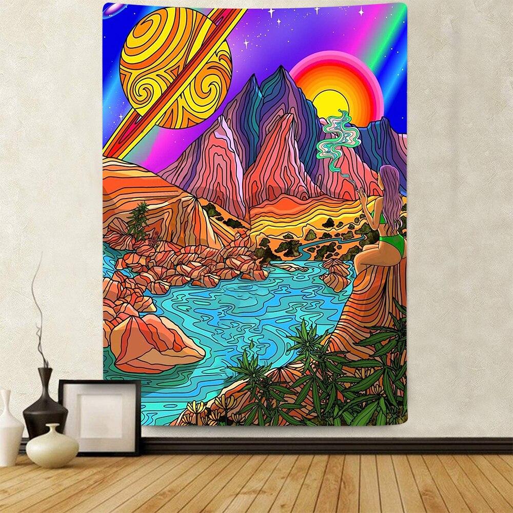 Simsant Trippy Mountain Sun Tapestry kolorowa sztuka psychodeliczna wiszące gobeliny do salonu sypialnia dekoracja do sypialni