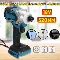 18V 520 N.m Cordless Electric Screwdriver Speed Brushless Impact Wrench Rechargable Drill Driver With LED Light Without Battery