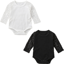 autumn baby girls boy Clothes Infant Baby Kid Newborn Lace O-neck Perspective Long Sleeve Bodysuit Outfits infantil