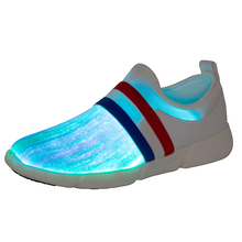 Fiber Optic USB Recharge Glow Shoes Boys Girls Lightweight Running Sneakers LED Light Summer