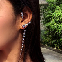 AENSOA INS Heißer Mode Kristall Lange Clip Ohrring Für Frauen Ohne Piercing Hip Hop Vintage Kristall Ohr Manschette Mädchen Jewerly gif
