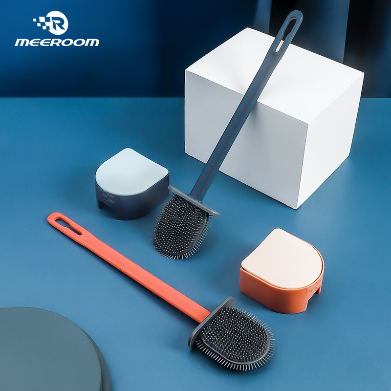Silicone Toilet Brush with Holder Flat Head Flexible Soft Bristles Brush Cleaning Toilet Brush Set for Wc Bathroom Accessories