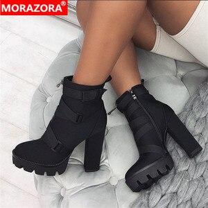 Image 2 - MORAZORA 2020 New ARRIVALข้อเท้ารองเท้าผู้หญิงฤดูใบไม้ร่วงฤดูหนาวรองเท้าส้นสูงรองเท้าซิปหัวเข็มขัดเซ็กซี่PARTY PROMรองเท้าหญิง