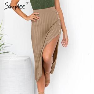 Image 3 - Simplee Sexy side dividir botão das mulheres de malha Elegante saia plissada midi saia do sexo feminino cintura Alta desgaste do partido senhoras saia inferior