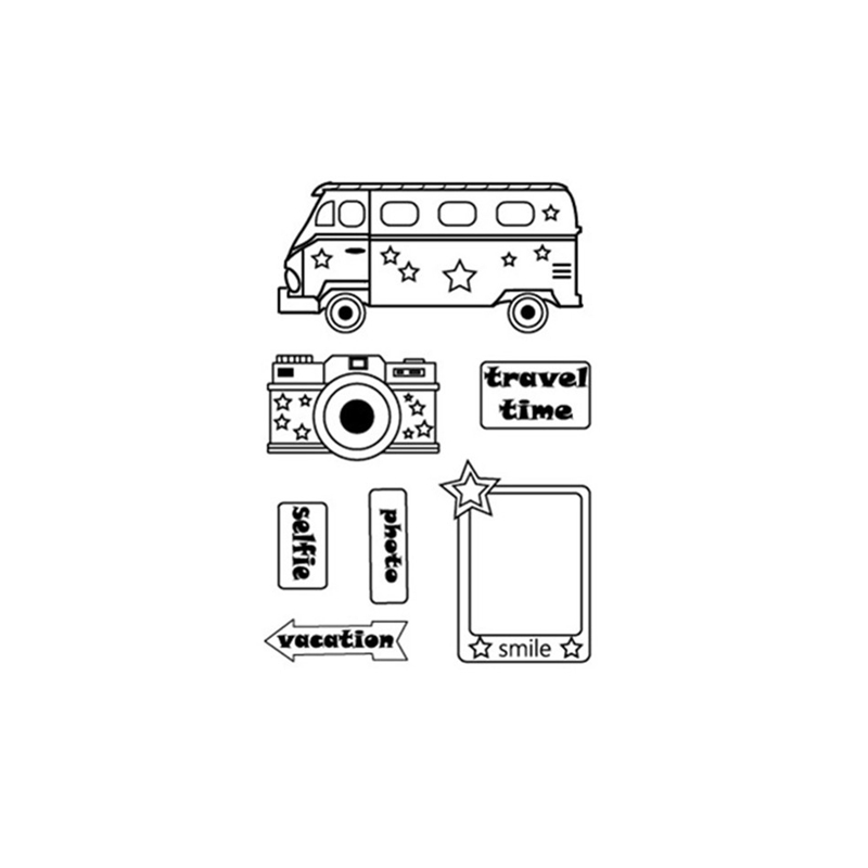 Camera Bus Tag Clear Stamps 2019 Rubber Transparent Silicone Seal for DIY Scrapbooking Photo Album Decorative Stamp Crafts