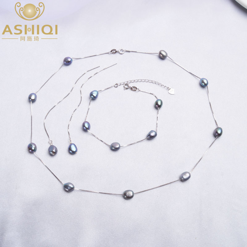 ASHIQI 925 Sterling Silver Real Natural Freshwater Pearl Jewelry Sets Necklace Bracelet Earrings For Women Fashion New Arrivals