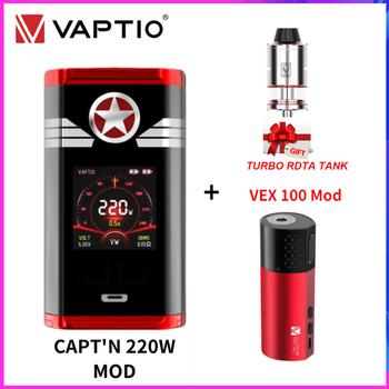 цена Vaptio Captain Box MOD Vape Mod 220W With VEX 100 Box Mod E Cigarette Fit Dual 18650 Battery Gift Turbo 510 Atomizer Vape Kit онлайн в 2017 году