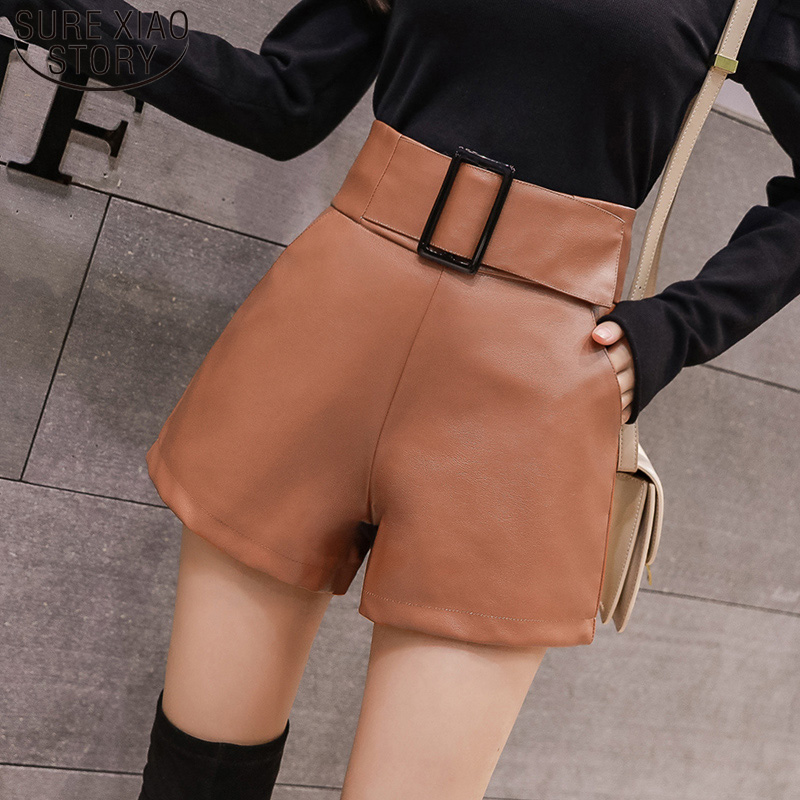 Autumn High Waist Wide Leg Short Ladies 2019 Korean PU Faux Leather Shorts Women Plus Size Sexy Black Belted Short Femme 7774 50