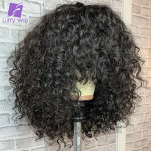 Human-Hair-Wigs Curly Luffywig Bangs Remy Black Women Brazilian with for Scalp-Top 180-%