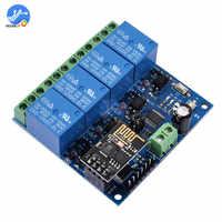 Módulo de relé WiFi para automatización de hogar inteligente, controlador de aplicación inalámbrico, DC 12V, ESP8266 ESP-01, 4 canales