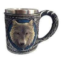 3D Wolf Becher Cartoon Tier Lone Wolf König Trinken Tasse Retro Harz Edelstahl Futter Tee Bier Kaffee Becher Geschenk-in Tassen aus Heim und Garten bei