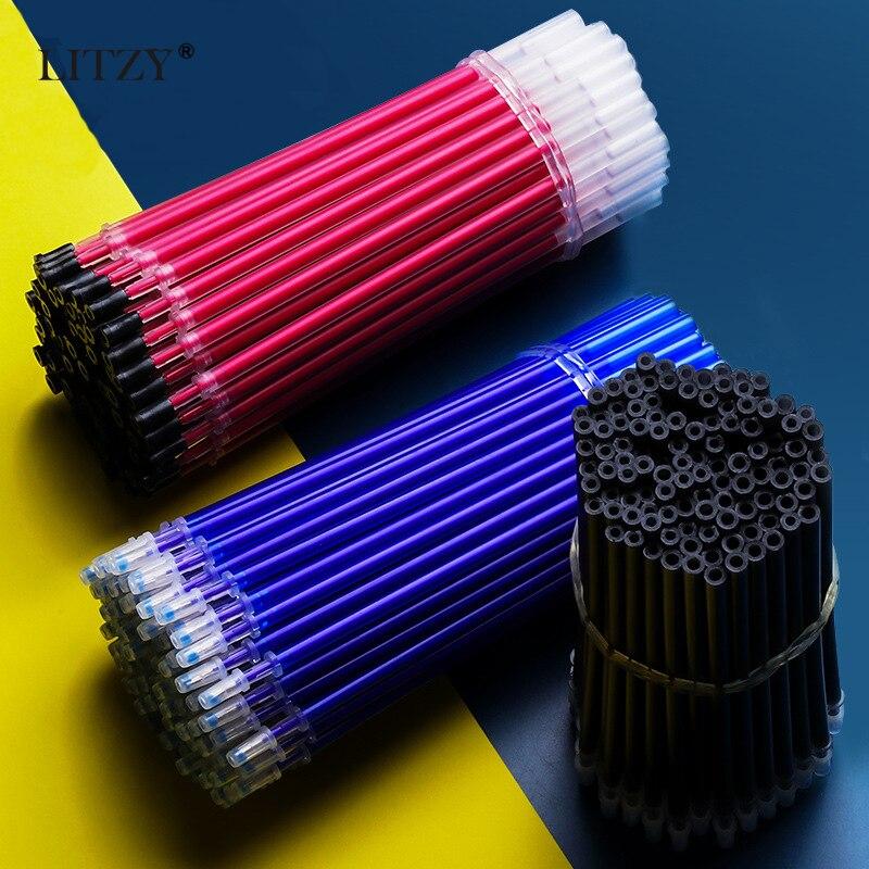 50 Pcs/lot 0.5mm Gel Pen Erasable Pen Refill Rod Set High Capacity Blue Black Ink Shool Washable Handle Pens Writing Stationery