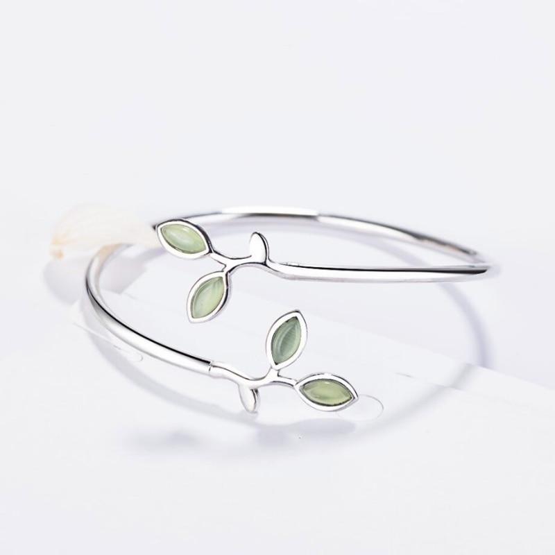 Sole Memory Tender Bud Fresh Minimalist Leaves Opal 925 Sterling Silver Female Literary Trendy Resizable Bangles SBR102