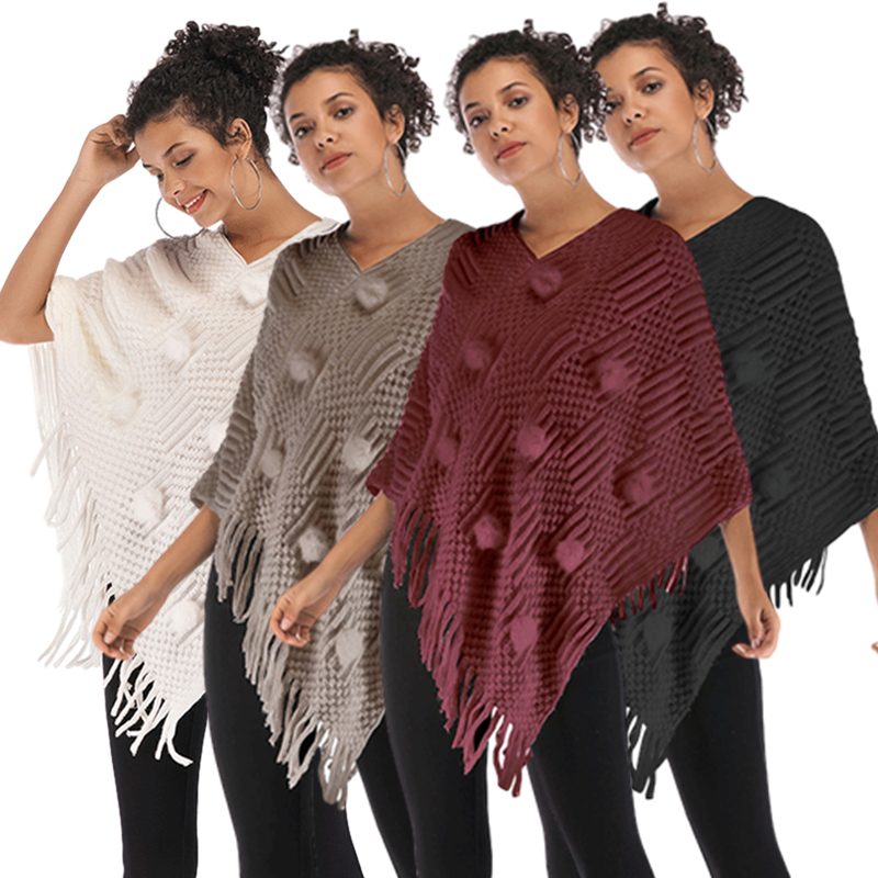 Poncho Style Coat Autumn Winter Poncho Knitting Turtleneck Women Long Ponchos And Capes Sweater Pullovers Pull Femme