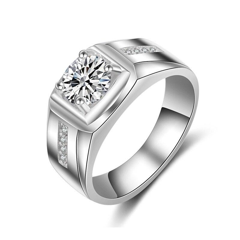 14k White Gold 1.25 carat Simulation Diamond Ring For Men Personality AAA Zircon Gemstone Rings Valentine's Day Birthday gift