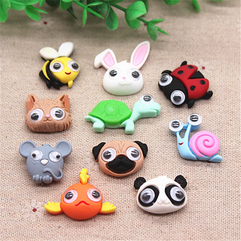 10pcs Resin New Cute Various Animals With Movable Eye Flatback Cabochon Charm DIY Phone/Craft Decoration Accessories