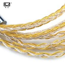 KZ سماعات كابل 8 الأساسية الذهب الفضة مختلطة كابل مع 2pin/Mmcx موصل استخدام ل KZ ZAX ZSX ZS10 برو ZSN برو X ZSTX AS16 ZST