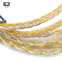 KZ Earphones Cable 8 Core Gold Silver Mixed Cable with 2pin/Mmcx Connector Use For KZ ZAX ZSX ZS10 PRO ZSN PRO X ZSTX AS16 ZST