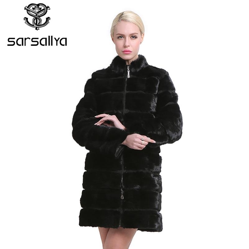 SARSALLYA prawdziwe futro z norek płaszcz dla kobiet naturalne oryginalne 38 58 plus size futro luksusowe czarny kolor dostosowany rozmiar w Prawdziwe futro od Odzież damska na  Grupa 1