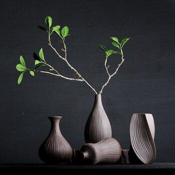 Florero de gres estilo chino Zen florero Retro florero de flores secas decoración de Arte de cerámica pequeño florero de porcelana