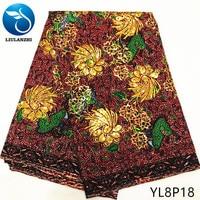 LIULANZHI African wax fabrics wax cotton sequins embroidery fabric for women Top sale ankara real wax fabric ML8P18 ML8P28