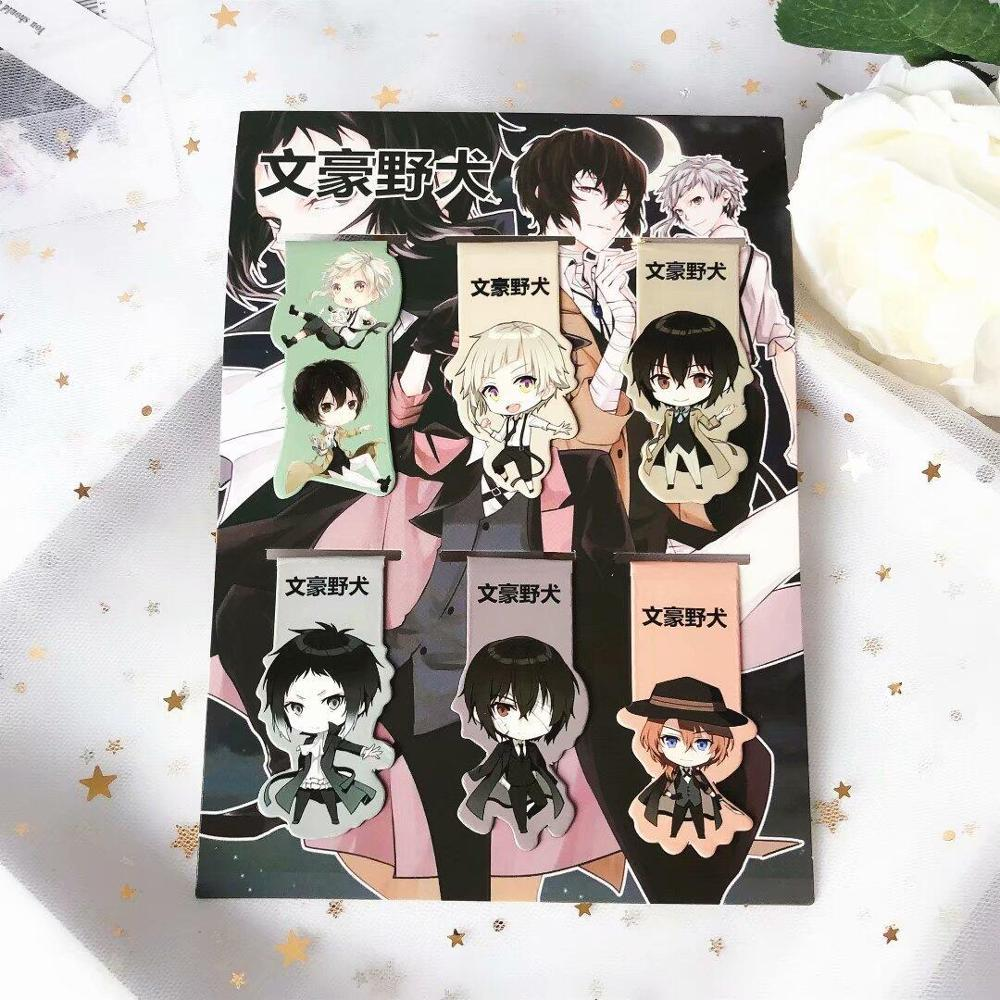 6pcs Bungou Stray Dogs Anime Magnetic Bookmark Magnet Bookmark Child Student Kawaii Gift Bookmarks Office Stationery