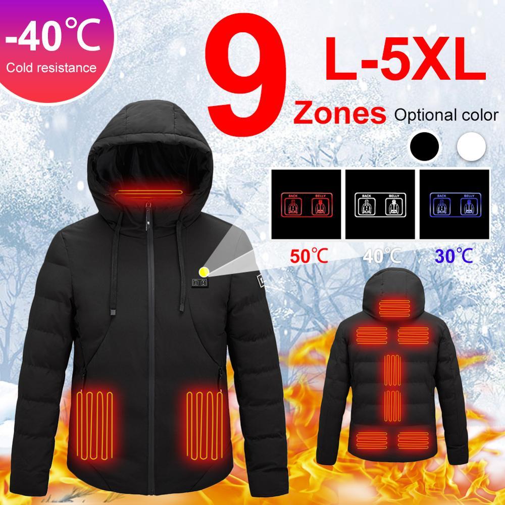 9Zone Electric с подогревом куртки Outdoor жилет пальто USB длинные рукава Electric с подогревом с капюшоном куртки теплый зимний термальный одежда