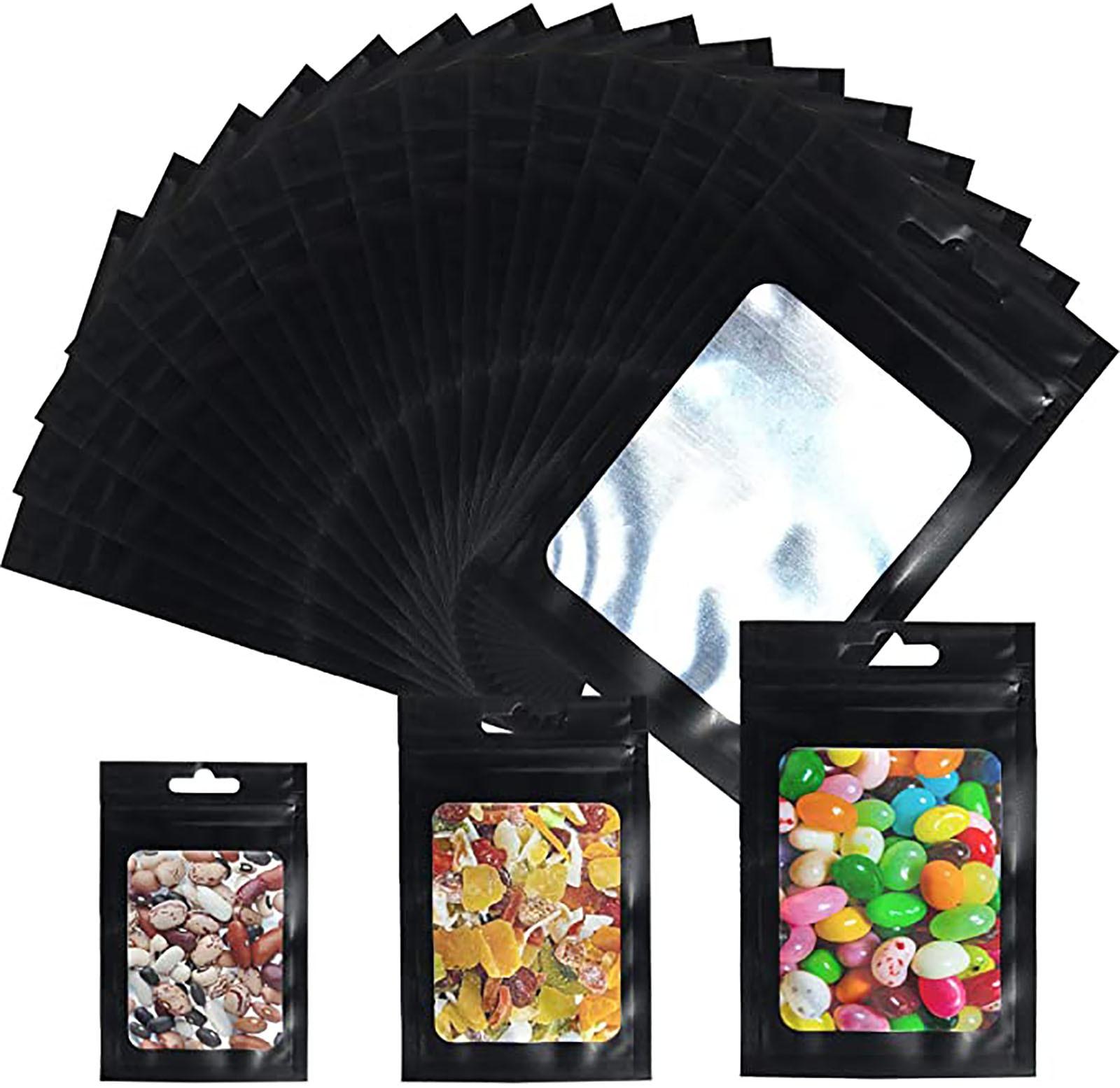 Необработанная застежка-молния из майларовой фольги, 100 шт., черная прозрачная упаковка для еды, пакет для чая, образец, алюминиевый пакет с з...